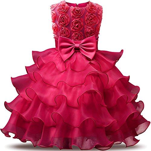 NNJXD Mädchen Kleid Kinder Rüschen Spitze Party Brautkleider Größe(140) 6-7 Jahre Blumen Rose