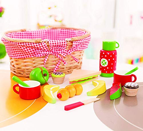 Milly & Ted Wooden Picnic Basket Set - Childrens Pretend Play Food Wood Toy