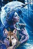 Poster schöne Frau mit Wolf und Welpe vor dem Mond - Größe 61 x 91,5 cm - Maxiposter