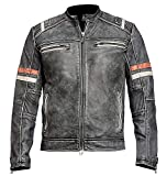 Fashion First Cafe Racer Retro Vintage Motorcycle Distressed Leather Jacket, Black, XL