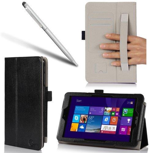 Asus VivoTab Note 8 Ledertasche / Hülle / Zubehör für M80T - i-Blason (Elastic Hand Strap, Multi-Angle, Card Holder) (Schwarz)
