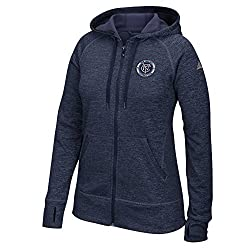MLS New York City F.C. Womens Primary Logo Left Chest Team Issue Full Zip Hood, Large, Collegiate Navy