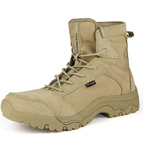 Free Soldier Outdoor Herren Storm Ultralight Tactical Stiefel atmungsaktiv Langlebig Leicht Wanderschuhe(Sandfarbe, 45) (Männer-keil-schuhe)