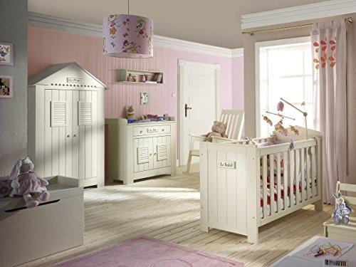 Babyzimmer Kinderzimmer SAINT-TROPEZ weiss, Holz massiv, Komplettset C, Bett Schrank Kommode