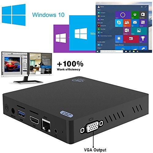 MFY Z83V MINI PC (Fanless Windows 10 Mini Desktop PC, Intel Atom x5-Z8350 Quad-Core, 1,44 GHz jusqu'à 1,92 GHz, 2 Go de RAM + 32 Go de stockage, sortie double - VGA et HDMI)