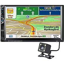 """Coche Estéreo Multi con sistema de navegación, daqian-world 7""""HD TFT pantalla táctil 2-din coche entretenimiento multimedia MP3/MP5/AV-IN/FM/AM RDS Reproductor de vídeo con cámara mapa de Europa"""