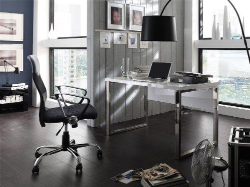 Robas Lund, Schreibtisch, Computertisch, Sydney III, Hochglanz/weiß/verchromt, 140 x 70 x 76 cm,  40121CW2 - 3