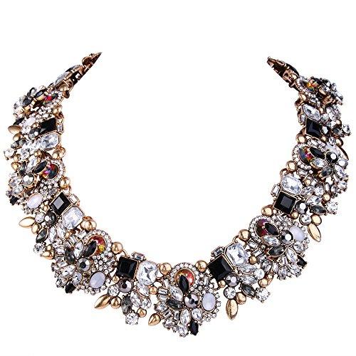 EVER FAITH® Vintage Stil Art Deco Statement Halskette österreichische Kristall Gold-Ton schwarz w/ klar N04130-3 (Art Deco Stil Modeschmuck)
