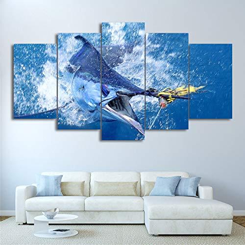 Ssckll Leinwandbilder Wandkunst Hd Drucken 5 Stücke Springen Marlin Thunfisch Malerei Sailfish Fishing Poster Wohnzimmer Decor-Ohne Rahmen