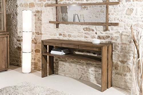 Macabane Console 1 tiroir Teck, Brun, 140 x 35 x 78 cm