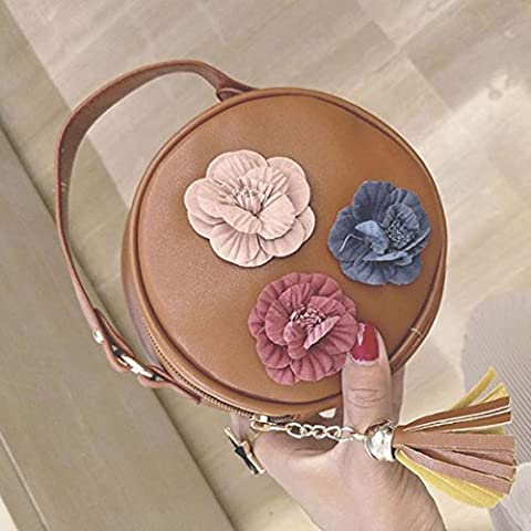 Women's Shoulder Bags, OverDose Stereoscopic Flowers Round Handbag (15 x 15 x 6cm, Brown)