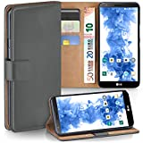 moex LG G2 | Hülle Dunkel-Grau mit Karten-Fach 360° Book Klapp-Hülle Handytasche Kunst-Leder Handyhülle für LG G2 Case Flip Cover Schutzhülle Tasche