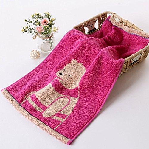 CHENGYI Reiner Baumwolle Netter Bär Cartoon Home Kind Handtuch Weiche Saugfähige Waschlappen 48 * 25 cm (4 Teile / sätze) ( Farbe : B-Rosa )
