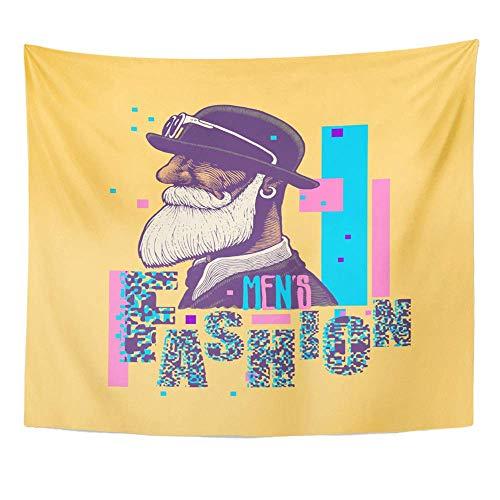 yester-Gewebe-Druck-Ausgangsdekor-Alter Mann-Mann-Schnurrbart und Bart in der Melone-Zusatz-Wandbehang-Tapisserie für Wohnzimmer-Schlafzimmer-Schlafsaal ()