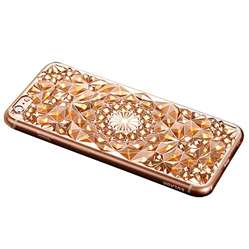 Forepin® Bling Diamant Muster Hülle Case Weicher TPU Bumper Cover Schutzhülle für iphone 6/iPhone 6s 4.7 Zoll Gold