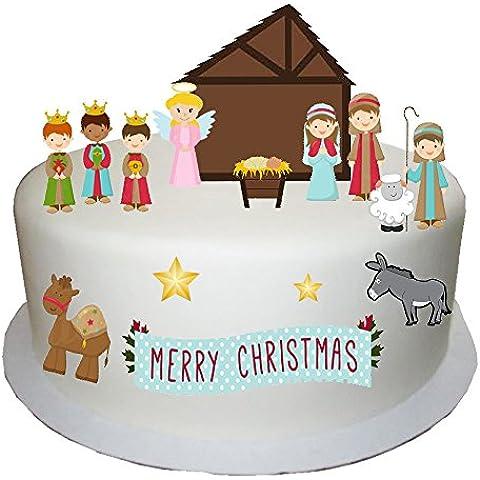Tradicional Stand Up de Navidad escena hecho de papel comestible perfecta para decorar tu Navidad Cakes- fácil de usar