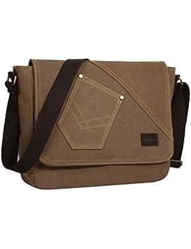 Eshow Herren Canvas Freizeit Täglich Umhängetasche Schultertasche Tasche 14 Zoll Laptop Geeign