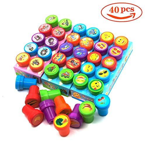 FISHSHOP Stempel Kinder40 Stücke Kinder Briefmarken, Selbstfärbende Stempelset Tiere Niedliche Spielzeugstempel aus Plastik für Spiel, Spaß, Hobby und Mehr