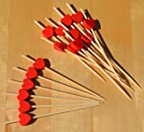 Gifts Of The Orient GOTO® - Brochetas De Madera Rojo Corazón Cocktail Sticks 9 Cm X 100