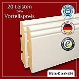 20 Stk/52 m weiße MDF Hamburger Profil Fussleisten 2600 x 19 x 115 mm - Vorteilspack 4,70€/m