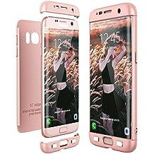 CE-Link Funda para Samsung Galaxy S7 Edge Rigida 360 Grados Integral, Carcasa S7 Edge Silicona Snap On Diseño Antigolpes Choque Absorción, Samsung S7 Edge Case Bumper 3 en 1 Estructura - Oro Rosa