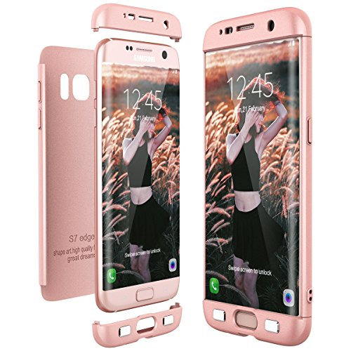 CE-Link für Samsung Galaxy S7 Edge Hülle Hardcase 3 in 1 Handyhülle Ultra Dünn Hartschale 360 Grad Full Body Schutz Schutzhülle Hart PC Skin Bumper -- Rosegold