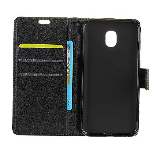 Klassische Litchi Texture PU Leder Schutzhülle Hülle Folio Flip Stand Case Cover mit Kartensteckplätzen für Samsung Galaxy J5 2017 EU Version ( Color : Black ) Black