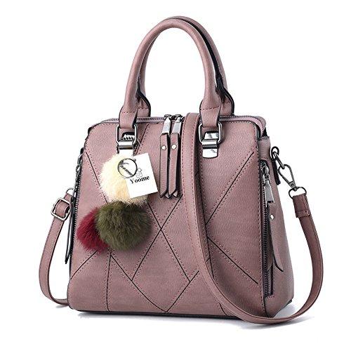 Yoome Borsa a mano Donna Tote Bags Borsa a chiusura con cerniera Borsa a tracolla Tote Vintage Borsa a tracolla - Verde D.pink