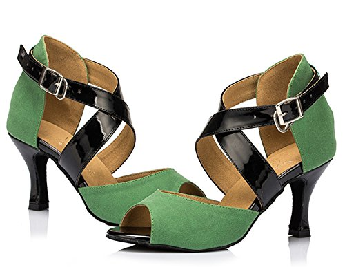 Minitoo–th095Fashion Croce Strap Satin Matrimonio Ballo Latina taogo Dance Sandals Green