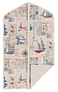 """Concept Covers Stylish 40"""" (101cm) Garment / Suit Cover Bag - Nautical Boats Print - 100% Cotton Panama Inc Full Length Zip, Hanger Opening & Folding Loop"""