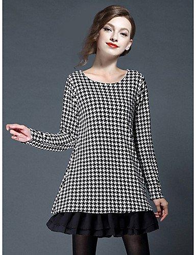 PU&PU Robe Aux femmes Trapèze Simple / Mignon,Couleur Pleine Col en U Mini Polyester RED-XL