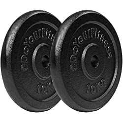 2x 10 kg pesas de hierro fundido 100% / Negro / Orificio de 30 / 31 mm. Uso variable: Mancuerna larga o mancuerna corta / 2x 10kg