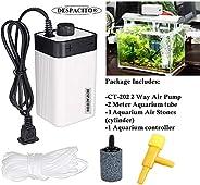 DESPACITO® CT-202 Super Noiseless Air Pump for Aquarium with 2 Air Outlets That Has Adjustable Air Flow Facility and 1 Aquari