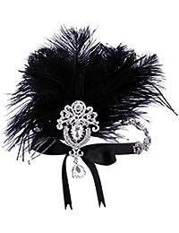 ArtiDeco 1920 Diadema de Pluma con Cristal Cinta para el Pelo con Diamantes  de imitación Vintage Años 20… 571c75cdc9d3