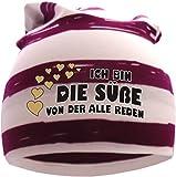 gestreifte Beanie Sommerfarben (Farbe brombeer-weiss ) (Gr. 3 98-122) Ich bin die Süße