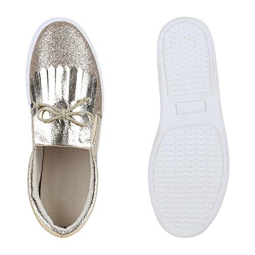 Damen Sneakers Slip-ons Lack Glitzer Metallic Slipper Schuhe Gold Fransen