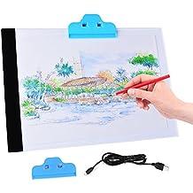 XCSOURCE®Artista Ultra-delgada A4 LED Art Display Tablero de dibujo Plantilla Caja de luz de Búsquedas Tabla tatto + Pinza azul + XC Paño de limpieza (ZH080) AH210