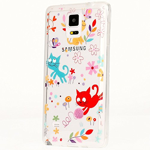 delightable24 Cover Case in Silicone TPU per Smartphone SAMSUNG GALAXY NOTE 4 - Little Cats