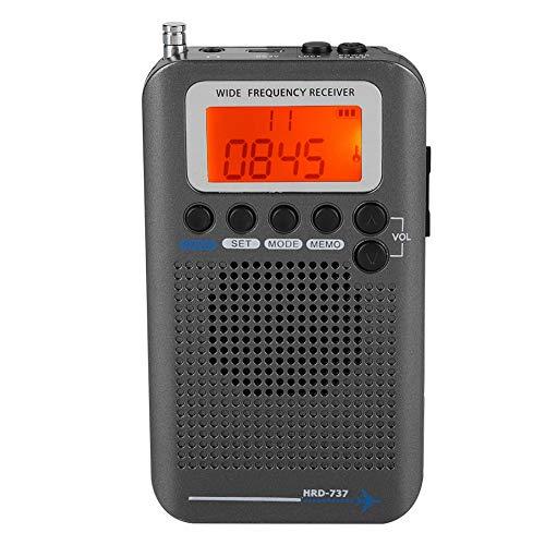 Bewinner VHF Airband Radio, Tragbarer Flugzeugband-Funkempfänger VHF Tragbarer Full-Band Radio Recorder Full Band Funkempfänger AIR/FM/AM/CB/SW/VHF, LCD-Display mit Hintergrundbeleuchtung(Schwarz)
