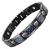 Willis Judd magnetische Herren-Armband aus schwarzen Titan mit blauen Carbon Fiber