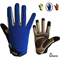 Kids Cycling Gloves Junior Boy Girl Youth, Children's Touch Screen Anti-slip Riding Gloves for Outdoor Sports Road Mountain Bike, Gel Padding Bicycle Full Finger Gloves Pair