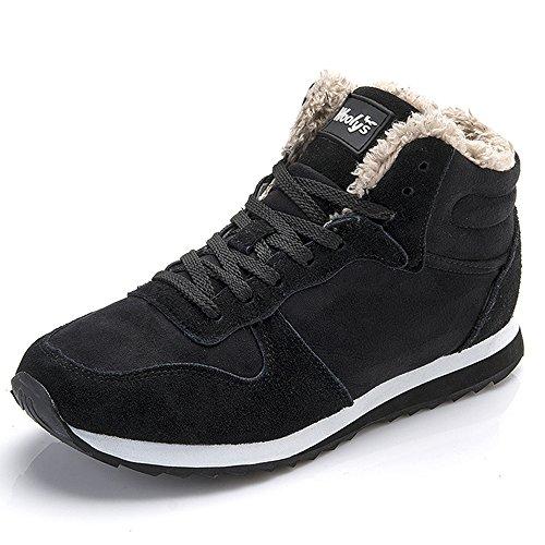 Chaussures Bottes Hiver De Neige Femme Homme Boots Fourrees Bottines Mode Courts Avec Doublure Chaude Noir Bleu 35-46 Noir 42