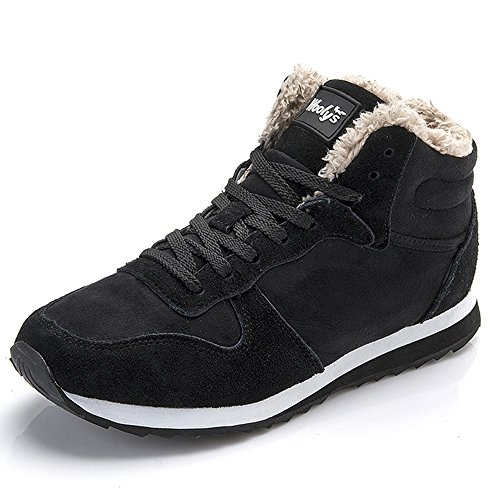 Rioneo Winterschuhe Herren Damen Warm Gefüttert Boots Schneestiefel Winterstiefel Winter Sneaker Schwarz Blau 36 EU/3.5 UK Women