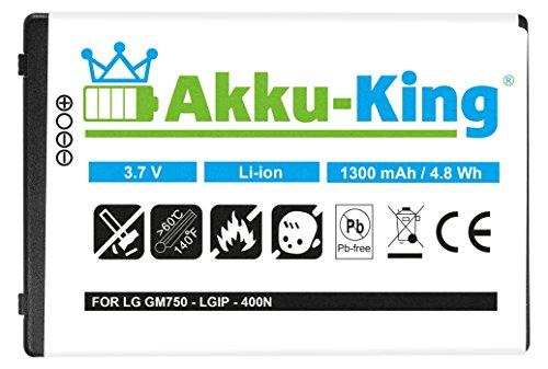 Akku-King Akku für LG GM750 GT540 GW620 Optimus One P500 GW825 GW620f GX500 GX200 - Li-Ion ersetzt LGIP-400N SBPP0027401 - 1300 mAh