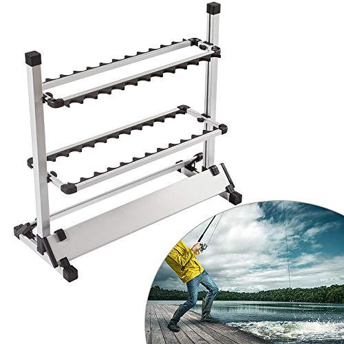 HaroldDol Angelrutenhalter Angelruten Ständer Rutenständer Angeln Rutenständer Aluminiumlegierung bis zu 24 Ruten für Die Meisten Angelruten