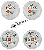 Retsch Arzberg - Pizzateller im Set inklusive Pizzaschneider/Pizzaroller - Pizza Teller XXL Ø30cm (mit Dekor, 4er Set)