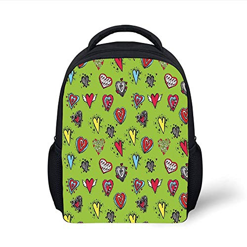 Kids School Backpack Doodle,Hand Drawn Set of Hearts Sketch with Various Shapes and Sizes Love Affection,Avocado Green Red Plain Bookbag Travel Daypack -