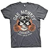 Gas Monkey Garage Skull Camiseta Gris Oscuro M