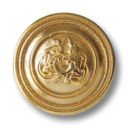 Knopfparadies 5er Set exquisite leicht gewölbte glänzend goldfarbene Ösen Metallknöpfe mit zwei steigenden Pferden vor Phantasie Ornament/Goldfarben glänzend/Metall Knöpfe/Ø ca. 23mm