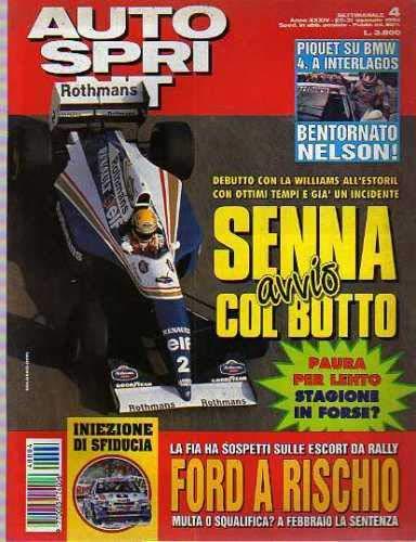 Autosprint Auto Sprint 4 Gennaio 1994 Senna, Piquet, Irvine, Lartigue